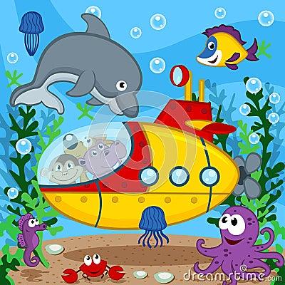 Free Animals On Submarine Stock Photography - 45316882