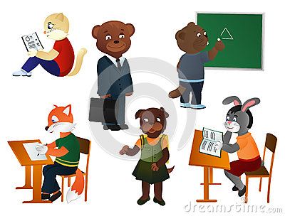 Animals schoolchildren