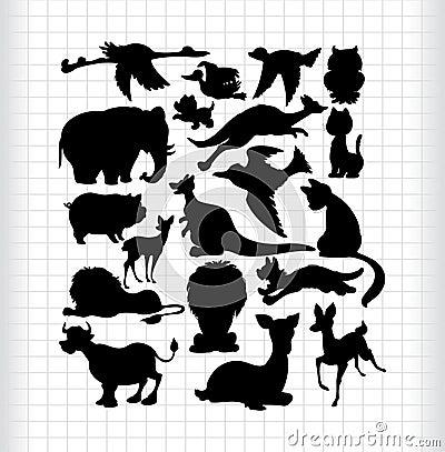 Free Animals Silhouettes Royalty Free Stock Photo - 16794385