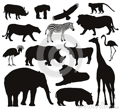 Free Animals Silhouettes Royalty Free Stock Photo - 41091335