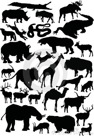 Animals silhouettes large coll