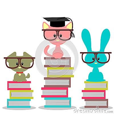 Animals sitting on books