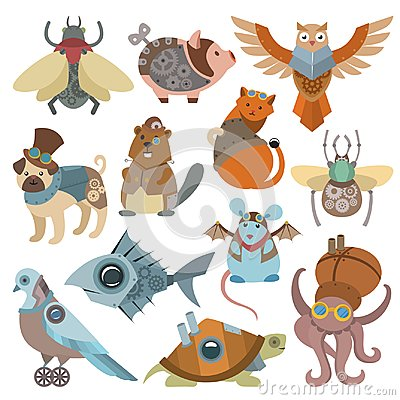 Free Animals Steampunk Vector Animalistic Characters In Steam Punk And Industrial Style Illustration Set Of Abstract Cat Or Stock Images - 113763344