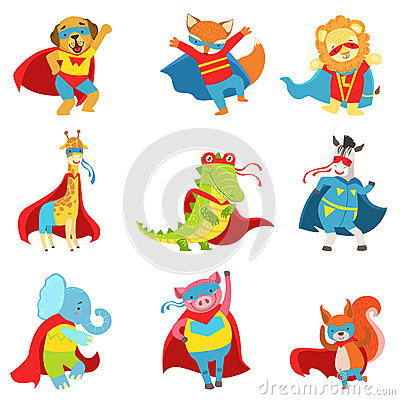 Free Animals Superheroes With Capes And Masks Set Royalty Free Stock Photos - 82169408