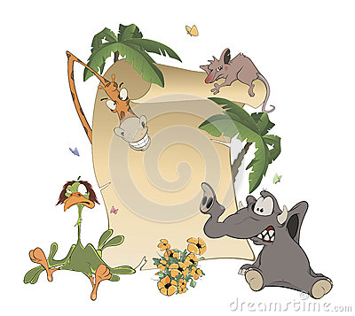 Free Animals With Blank Sign Board Cartoon Stock Photo - 42062380