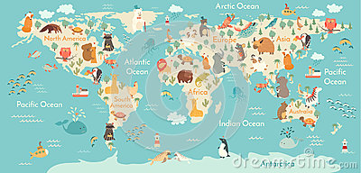 Animals world map Vector Illustration