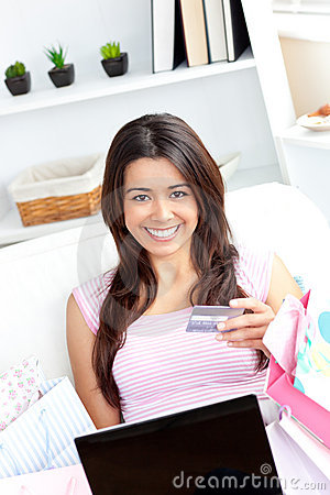Animated asian woman holding a card and smiling