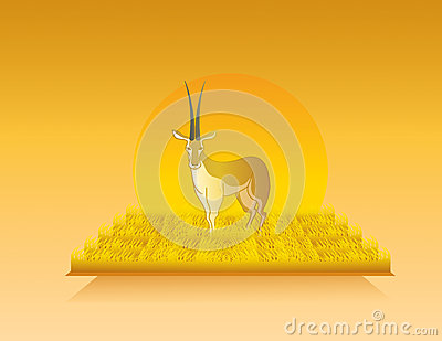 Animated gazelle in wild nature landscape