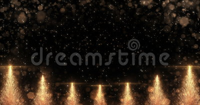 Animated Golden Christmas Pine Tree Star background seamless loop 4k resolution. stock video
