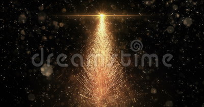 Animated Golden Christmas Pine Tree Star background seamless loop 4k resolution. stock video footage