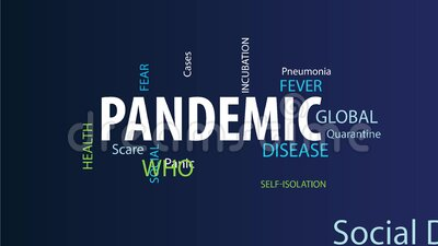 Animated Pandemic Word Cloud. Pandemic Word Cloud on a Blue Background stock illustration
