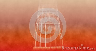 Animated rock music background on fire. Rock and roll or heavy metal animated background on fire theme. Guitar neck on center stock illustration