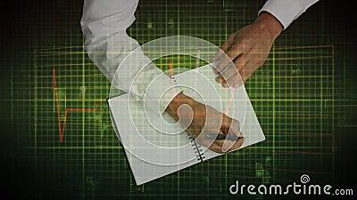 Animatie van een persoon die in een notitieboekje over een hartslagmonitor op de achtergrond trekt stock illustratie
