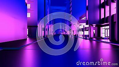 Animation abstraite d'un appareil-photo se déplaçant par les bâtiments au néon de ville boucler illustration libre de droits