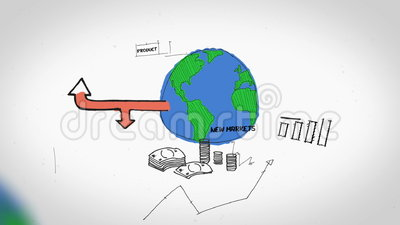 Animation on business growth and development. On white background