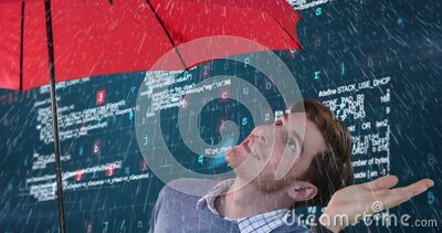 Animation of Caucasian man using an umbrella with processing data appearing in background stock video footage
