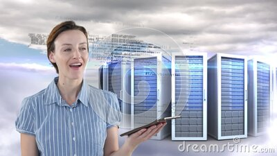 Animation of Caucasian woman smiling and touching digital tablet with processing servers in backgrou stock footage