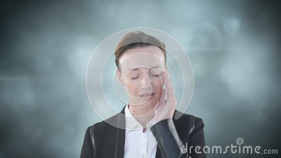 Animation of Caucasian woman suffering from headache with flashing background stock footage