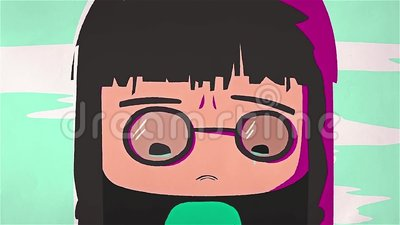 Animation Of Crying Girl Cartoon Character With Dark Hair And