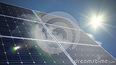 Animation de laps de temps des panneaux solaires photovoltaïques banque de vidéos