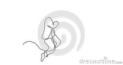 Animation der Frau schlafend auf Kissen - Federzeichnung der einzelnen Zeile stock abbildung