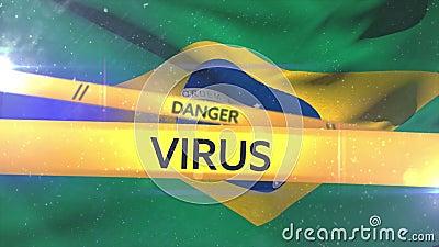 Animation der Worte 'Gefahr, Quarantine und Virus' auf gelbKlebeband über einer brasilianischen Flagge stock abbildung