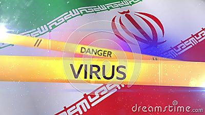 Animation der Worte 'Quarantine, Gefahr und Virus auf Band über iranische Flagge geschrieben auf Band lizenzfreie abbildung