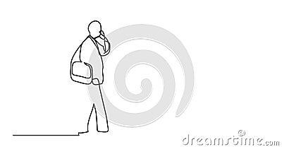 Animation des Mannes gehend sprechend am Handy - Federzeichnung der einzelnen Zeile vektor abbildung
