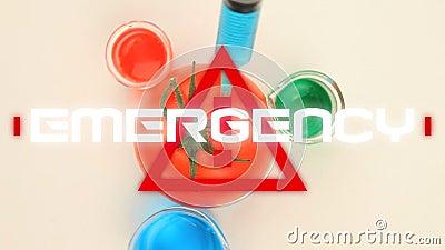 Animation des Wortes Notfall über Dreieck-Warnschild über Spritze in einem Gramm festgeklemmt vektor abbildung