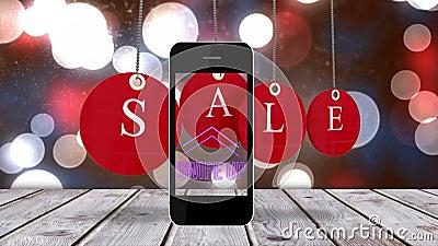Animation des Wortes Verkauf auf roten Baubeln vor einem Smartphone lizenzfreie abbildung