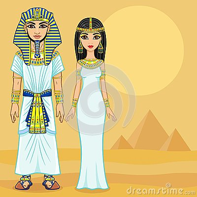 Free Animation Egyptian Family In Ancient Clothes. Stock Photos - 66924743