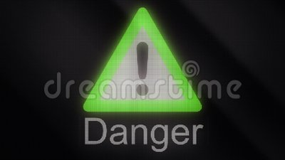 Animation extrusion of symbol of danger  Sign of skull, sign of nuclear  danger, sign of warnings  Warning Mark animation