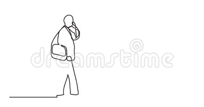 Animation Of Man Walking Talking On Cell Phone - Single Line
