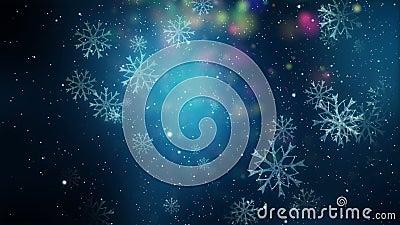 Animation merveilleuse de Noël avec des flocons de neige, boucle HD 1080p illustration de vecteur