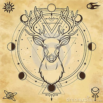 Free Animation Portrait Of A Horned Deer - Spirit Of The Wood. Pagan Deity. Stock Images - 121763194