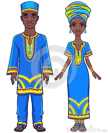 Free Animation Portrait Of The African Family In Ethnic Clothes. Royalty Free Stock Photos - 76033958