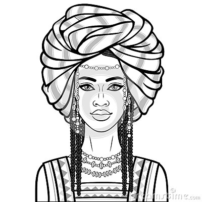 Free Animation Portrait Of The Beautiful African Woman In A Turban, Ancient Clothes And Jewelry. Royalty Free Stock Photo - 137574835