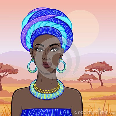 Free Animation Portrait Of The Beautiful African Woman In A Turban. Savanna Princess, Amazon, Nomad. Royalty Free Stock Photo - 130883285