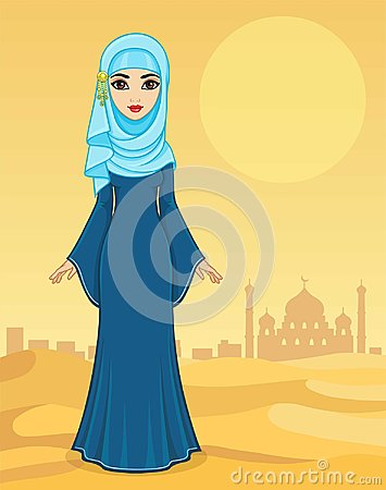 Free Animation Portrait Of The Beautiful Arab Woman In Ancient Clothes. Stock Photography - 117647882