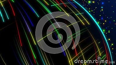 Animation sans couture du tir à rayon laser de raie de lumière colorée abstraite de spectre à l'arrière-plan à grande vitesse illustration de vecteur