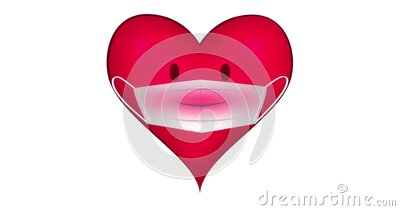 Animation of a talking heart wearing face mask stock footage