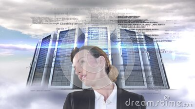 Animation of Caucasian woman looking at floating data with processing servers in background stock video footage