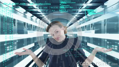 Animation of a thoughtful Caucasian woman thinking over data and numbers floating stock footage