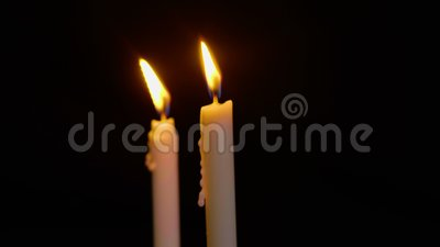 Animation Of Two Candle Burning For Christmas Day Stock Footage