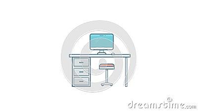 Animation vide de lieu de travail d'isolement sur le fond blanc banque de vidéos