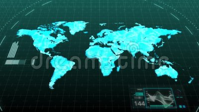 Animation world map showing major continents of america asia europe animation world map showing major continents of america asia europe africa australia in digital computer hologram technology stock footage video of gumiabroncs Images