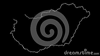 Animazione del profilo della mappa dell'Ungheria illustrazione vettoriale