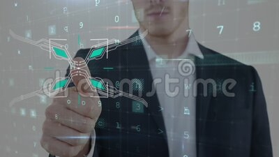 Animazione dell'uomo caucasico che usa il pollice per toccare uno schermo virtuale interattivo archivi video
