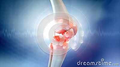 Animazione di dolore del ginocchio illustrazione vettoriale