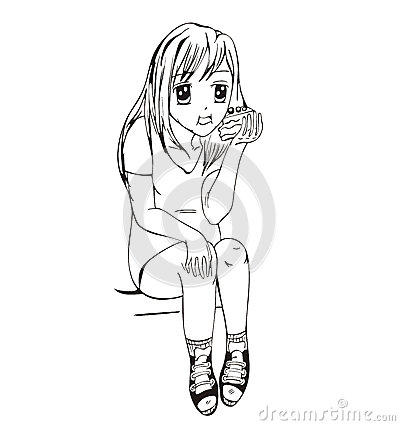 аниме девушка ест: